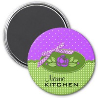 Polka Dot Roses Magnet, Purple
