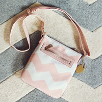 The Chevron Cross Body Tote in Pink - Pink & White