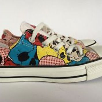 Converse ALL STAR  Low Tops Colorful Skulls Men's Size 3 Women's Size 5 New