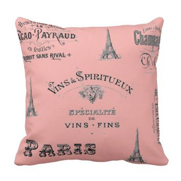 Paris Label Collage Coral Pillow