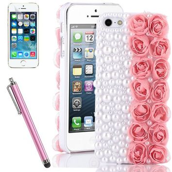 Pandamimi ULAK(TM) Fashion Sweety Girls Hand Made 3D Lace Rose Flower and Bling Pearl Diamond Hard Case Cover for iPhone 5S 5 5G Pink with Screen Protector and Stylus