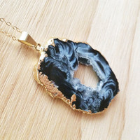 Gold Dipped Black Agate Druzy Necklace- Black Agate Gemstone Slice on 14k Gold Chain