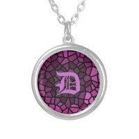 Personalised Medieval Fantasy Purple Stained Glass Pendant