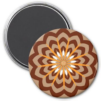 Curves Flower Refrigerator Magnet, Brown