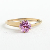 Vintage 10k Yellow Gold Created Pink Sapphire Ring -  Size 7 1/4 Fine Jewelry Hallmarked Magnolia with Light Pink Solitaire
