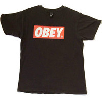 OBEY T-SHIRT RED & WHITE LOGO BLACK COLOR SIZE MEDIUM