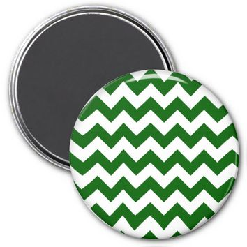 School Chevron Refrigerator Magnet, Green-White