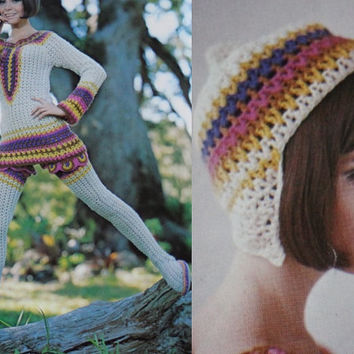 Vintage leggings mini dress pattern PDF Instant Download 3 PATTERN LOT crochet mini dress hat knitted supplies epsteam knitting pattern top