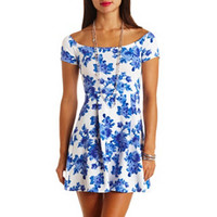 FLORAL PRINT OFF-THE-SHOULDER SKATER DRESS