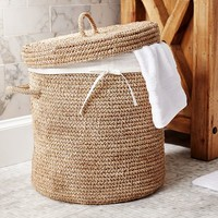 CROCHET WEAVE LIDDED HAMPER & BASKET