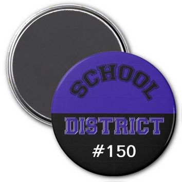 "School District 3"" Round Magnet Blue & Black"