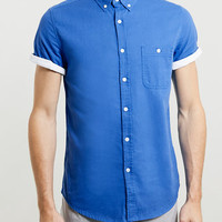 Blue Contrast Sleeve Shirt - Men's Shirts - Clothing