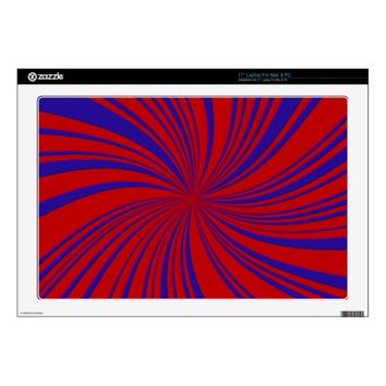 School Colors Red-Blue Twirl Laptop Skin 17""