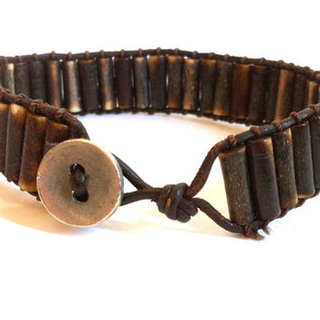 Unisex Bone Ladder Bracelet Boho Chic Jewelry for Men Men's Brown Bone Leather Ladder Bracelet Dark Brown Friendship Bracelet
