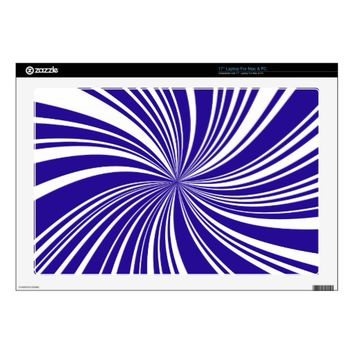 School Colors Blue-White Twirl Laptop Skin 17""
