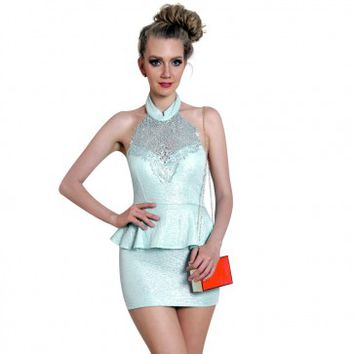 Turquoise Glitter Halter Dress with Foil Crochet