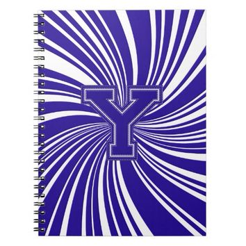 School Colors Spiral Twirl Notebook Blue & White Y
