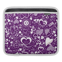 Heart Love Dooles Purple-White-iPad Sleeve