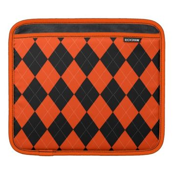 Orange Black Argyle iPad Sleeve Horizontal