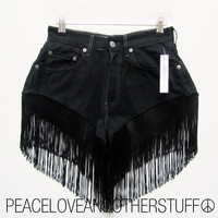 Reworked Vintage Levi Black FLAPPER FRINGE by peaceloveNotherstuff