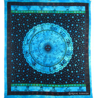 Queen Size Indian Hindu Zodiac Horoscope Print Tapestry Bed Cover on RoyalFurnish.com