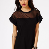 Missguided - Amara Oversized Mesh Panel Shift Dress In Black