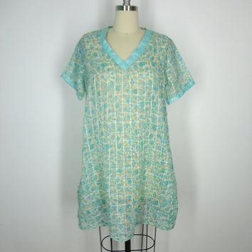 Kaftan Dress / Tunic Caftan / Swim Coverup / Vintage Indian Cotton Sari / Mint Green Floral Print / Limited Edition / Size S Small
