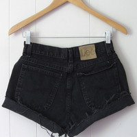 Vintage 90s Black High Waisted Cut Off Denim Shorts Jean Cuffed Rolled 26""