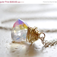 HALF OFF Rock Crystal Necklace Mystic Trillion Cut by waterwaif