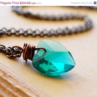 HALF OFF Teal Heart Necklace Heart Crystal Wire by waterwaif