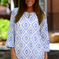 Be Yourself Blouse, Blue/White