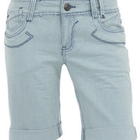 Stripe denim knee shorts - View All - New In - Dorothy Perkins