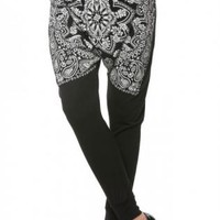 Black Arabesque Printed Harem Pants