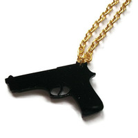 Gun Necklace Black Pistol Pendant Laser by KitschBitchJewellery