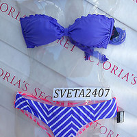 New Sexy Victoria's Secret Ruffle Bandeau Bikini Set S Neon Multi color Chevron