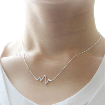 Heartbeat Necklace / choose your color , gold and silver