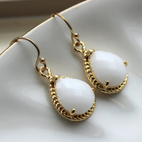 Gold White Opal Earrings Cream Jewelry - Bridesmaid Earrings White Opal Wedding Jewelry Winter White Bridesmaid Jewelry
