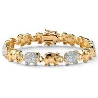 PalmBeach Jewelry 43944 1.32 TCW Pave Cubic Zirconia 18k Yellow Gold Over Sterling Silver Lucky Elephant Bracelet 8
