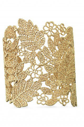 Large Gold Cuff Bracelet: Gold Chantilly Lace Cuff