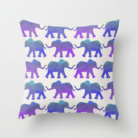 Follow The Leader - Painted Elephants in Royal Blue, Purple, & Mint Throw Pillow by Tangerine-Tane