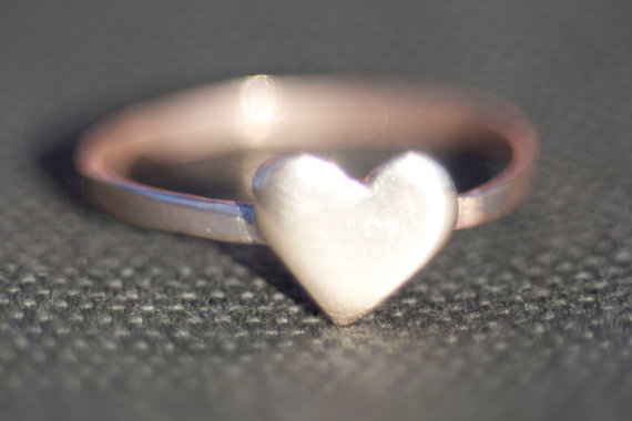 Simple Brass Heart Ring 7mm Heart Straight Band by Anilani on Etsy