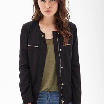 Collarless Woven Utility Jacket