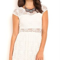All over lace cap sleeve illusion neck and waist skater day dress