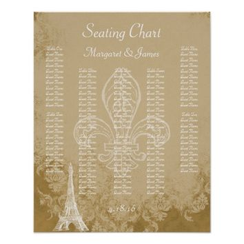 Paris Eiffel Cream Vintage Damask Seating Chart