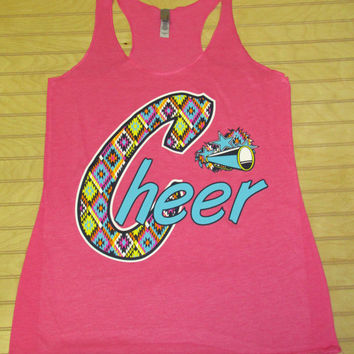 Tri Blend Racerback Tank Top Cheer Multi Color Diamonds Pattern