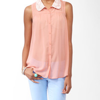 Sleeveless Crochet Collar Shirt | FOREVER21 - 2000046240