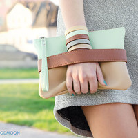 "Clutch bag ""CarryMe"", mint beige, vegan leather, boho"