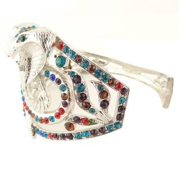 Womens' Multi Colored Rhinestone Snake Fashion Bangle GCB-210 /Vintage Jewelry
