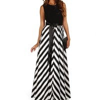 Sophia- Black Striped Homecoming Dress
