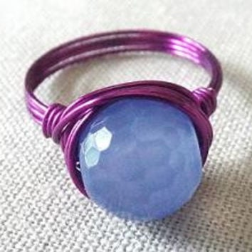 Lavender Agate ring - boho ring - dark purple ring - funky ring - wire wrapped handmade jewelry - colorful ring
